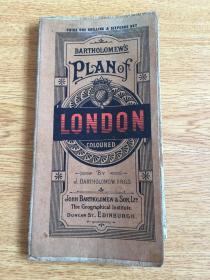 【民国欧美地图13】1920年前后英国出版《伦敦地图》折叠大幅彩印
