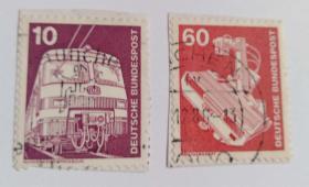 德国邮票工业与科技信销票2枚不全