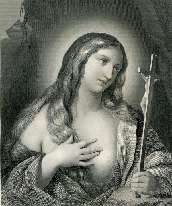 1850年钢版画《玛格德伦》27×20厘米
