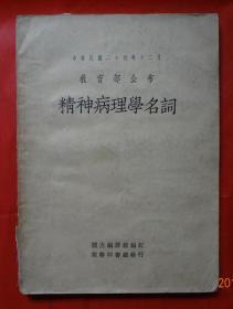 精神病理学名词 16开本!中华民国26年版