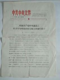 中国共产党中央委员会 关于今冬明春农村文化大革命的指示