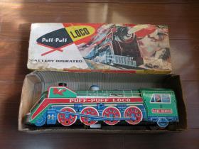 780年代 老铁皮火车头玩具 带原盒