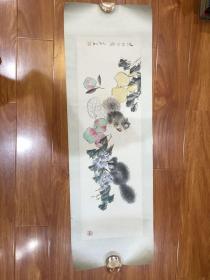 荣宝斋木刻水印(虚谷松鼠)一幅