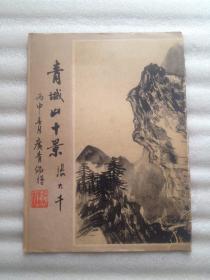 戆居居居士赵广青毛笔手稿随笔写在张大千青城山十景的画页上