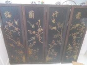 老货收藏,四条屏 梅兰竹菊。。高120厘米,宽35厘米,镶嵌玉石花鸟。。来我家取,,不发货。。