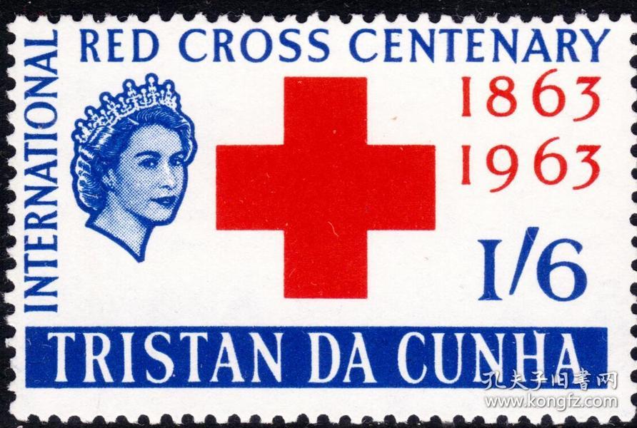 特里斯坦 - 达库尼亚群岛(英)1963早期新票-图文:国际红十字会百年纪念徽志-英女王头像