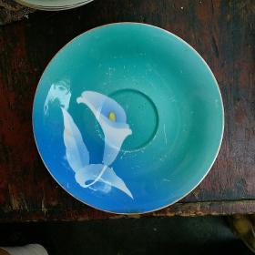 怀旧老瓷器 唐山70-80年代 陶瓷茶盘 点心盘 蓝釉马蹄莲