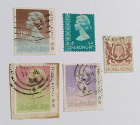 英国女皇信销票5枚合售