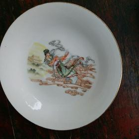 收藏怀旧瓷器-底款唐山产嫦娥奔月图案瓷盘 摆件(包老保真)80年代