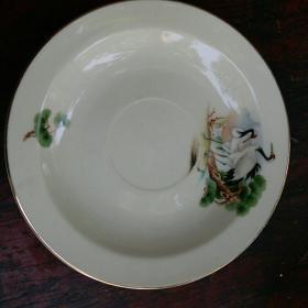 老瓷盘 中国彭城 古董看盘 摆盘 老陶瓷盘 松鹤图案