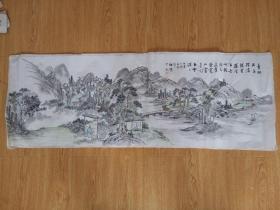 清末日本画《山林隐居图》一幅,乙末年应是1895年,落款【雅乐少?】