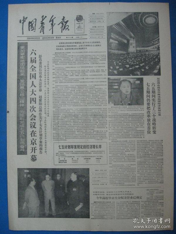 中国青年报1986年3月26日报纸(六届人大会议)