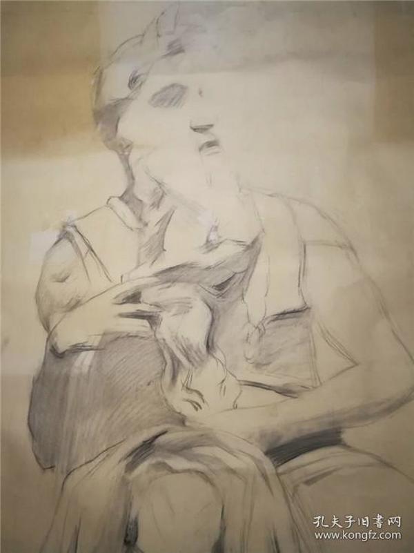 画家巨幅人物素描《雕塑》—【低价拍售完为止】素描作品(*U-WPEYUR)