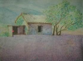 带原外框的画家风景水彩素描《家》—【低价拍售完为止】素描作品(*U-WPYSC)