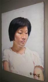 油画家带原框布面油画《女肖像》—【低价拍售完为止】油画作品(*U-WPYQA)