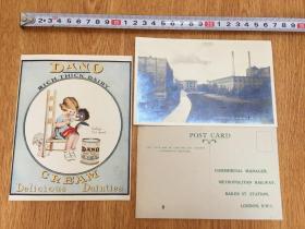 1921年欧美明信片两张和一张奶油广告纸