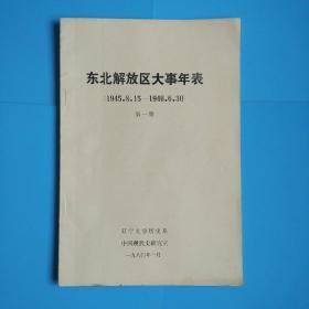 东北解放区大事年表(1945.8.15--1946.6.30)