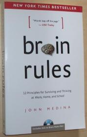 英文原版书 完本 Brain Rules: 12 Principles for Surviving and Thriving at Work, Home, and School Paperback – Unabridged, March 10, 2009