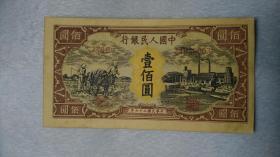 第一套人民币 壹佰元 纸币 编号24038003