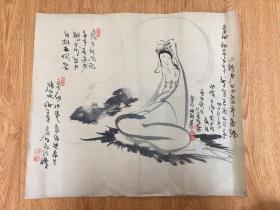 清代日本手绘《观音图》一幅