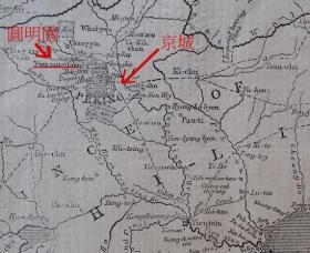 1860年 鸦片战争 中国东北地图及英军向北京推进的路线 木口木刻版画 可作墙饰、生日礼物、收藏 或 学术研究
