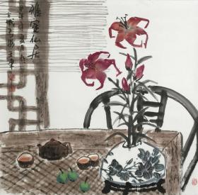❤【保真】。【王东】 陕西美协会员、清华美院画家、西安美术学院、四尺斗方花鸟(68*68CM)(已小托画芯)