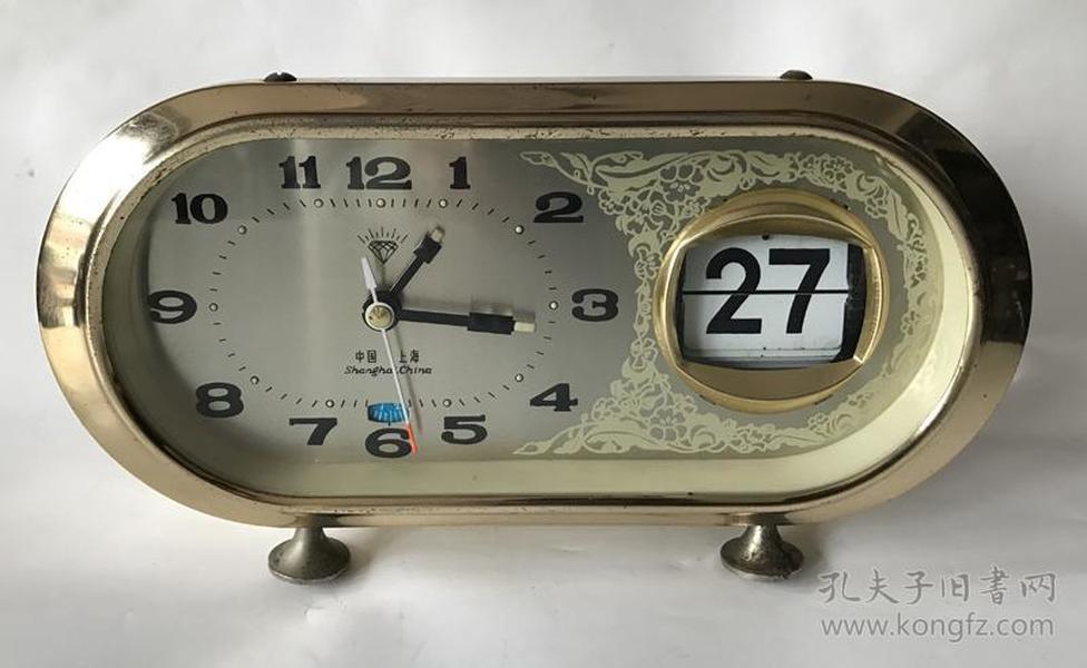 上海钻石老闹钟机械闹钟全铜机芯带日历闹钟走闹正常