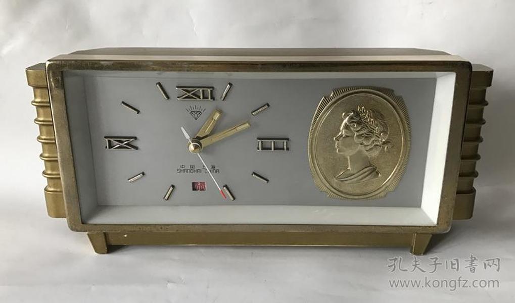怀旧上海产钻石老闹钟全铜机芯机械老台钟女王头像闹钟正常走闹