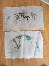 民国日本手绘绢本《墨竹、青竹图》两幅