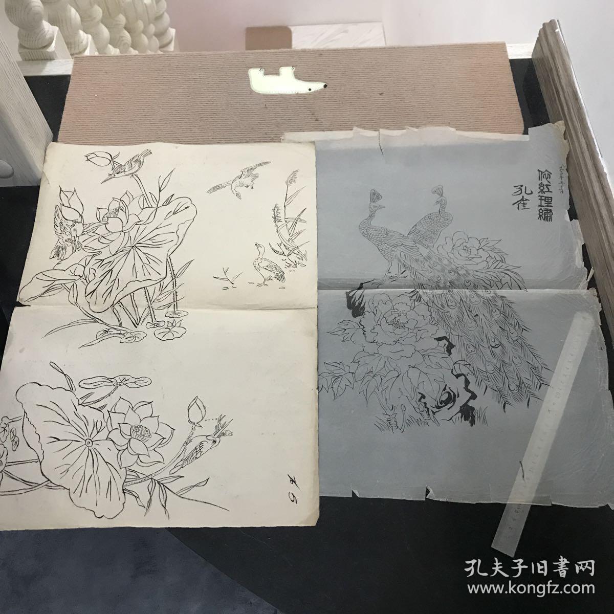 鞍山市工艺美术制品厂制镜厂贝雕厂存档的工艺美术制品设计稿手绘画稿图片