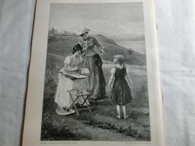 【現貨 包郵】1890年木刻版畫《小模特》 (Das ungeschickte modell) 尺寸約41*28厘米(貨號 M6)