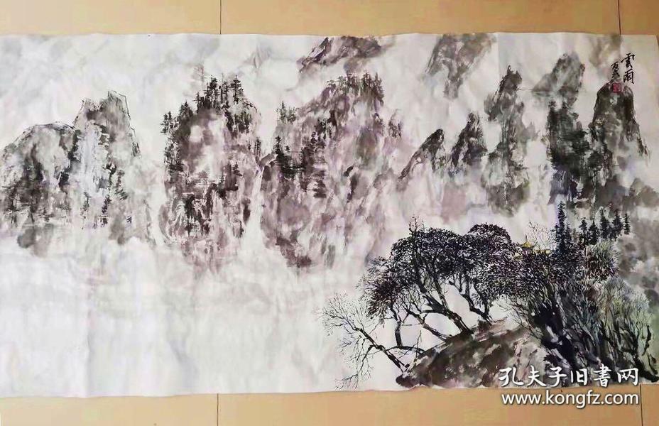 中国画 山水画 纯手绘中国画李可染国画 手绘作品