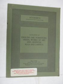 Sothebys  Catalogue of  English Oak Furniture,Treen,Works of Art,and Oriental Rugs and Carpets(苏富比英式橡木家具,艺术品,地毯目录)