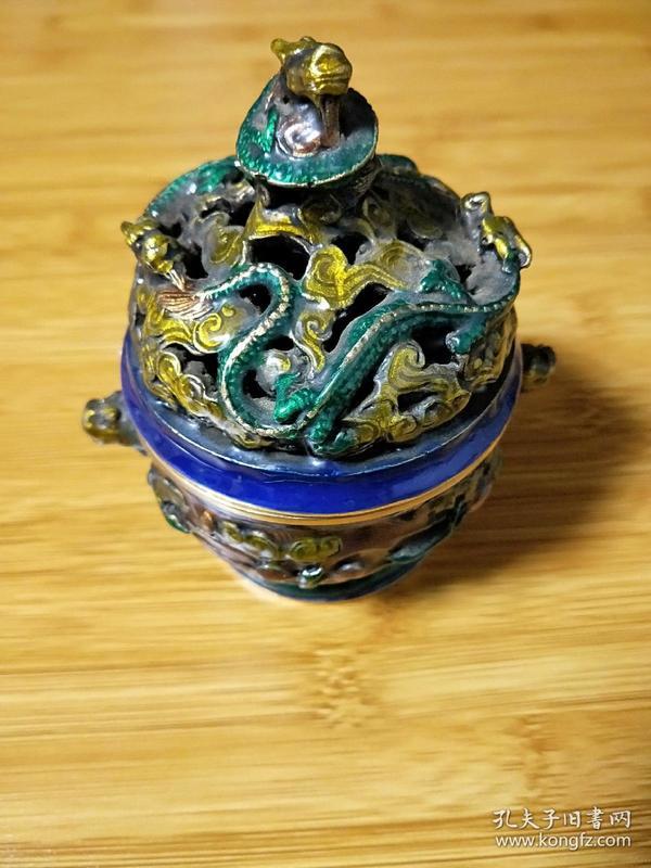 景泰蓝香炉,黄铜海鳝龙盖,香薰炉,大明宣德款,摆件。详细看图.