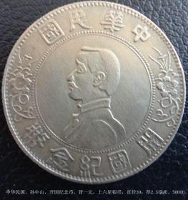 中华民国,孙中山,开国纪念币,背一元,上六星银币