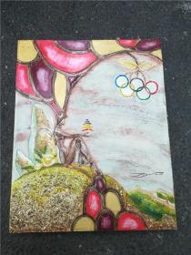 名家 奥运五环精环油画一幅