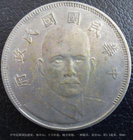 中华民国国民政府,孙中山,十六年造,地方仿制,一两银币