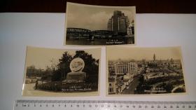 1950年代初期,上海照片三种:上海大厦、中山公园毛主席和斯大林像、上海市中心