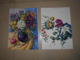 水粉画《鲜花怒放》两幅(佚名创作)