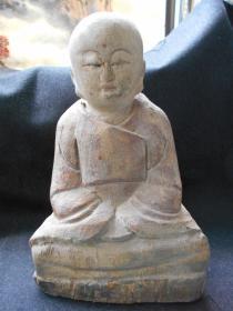 【木雕,沙弥像】高24.8,宽16.4厘米