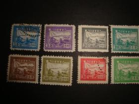 华东区上海邮运图邮票2枚新旧