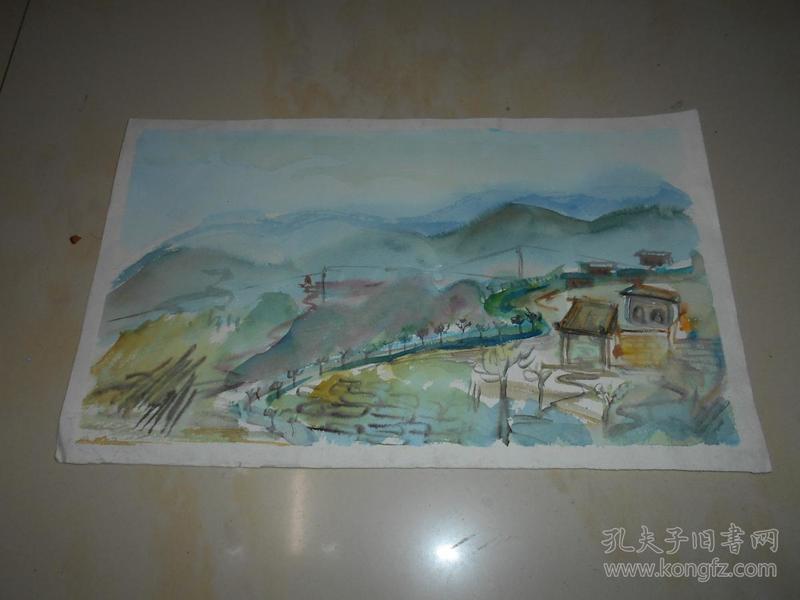 水彩画《北方山居》5幅(佚名创作)