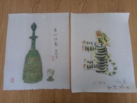 日本画作二幅合售《虎图》《酒瓶图》,【芳外】款