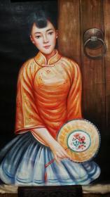 美女人物,精品油画一幅,【纯手创保真迹】