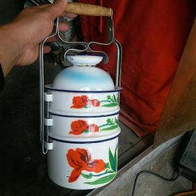 老物件 老搪瓷四层饭盒饭蓝花卉图案搪瓷手提式饭盒收藏道具装饰