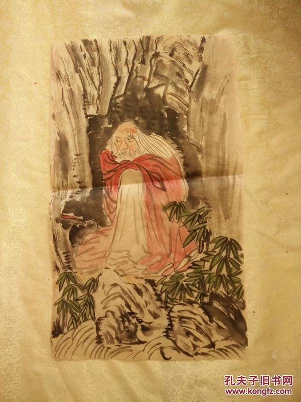 民国字画老宣纸纯手绘,专家估价3000,自然发黄60*32