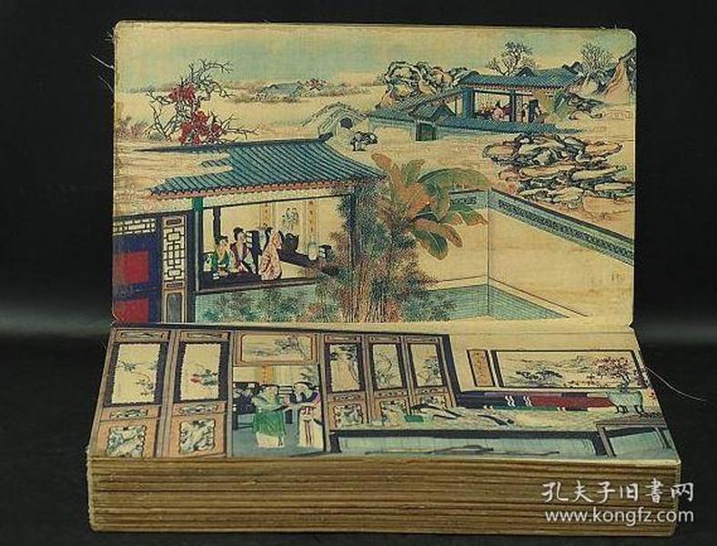 中国古美术 红楼梦曹雪芹 超大尺寸 28页 清时代 骨董品 品不符包退 绢本彩絵画册