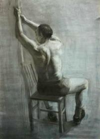 *FWPYSMU-精品人物老素描,背坐的人体,带签名,画面漂亮,品佳