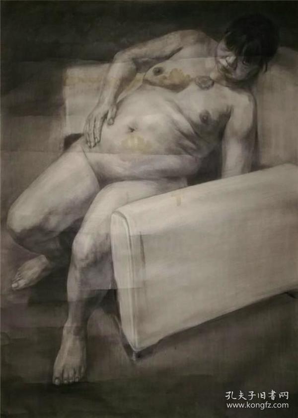 *FWP-画家带款人体老素描-夏日的午后,有画家签名,画功极好
