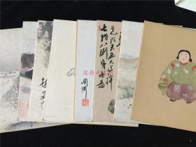 可用作和风装饰壁画:日本画9张,署名有素月、麟作、秋江、圆满等。马、水彩山景、房屋、人物、树等。年代不详。